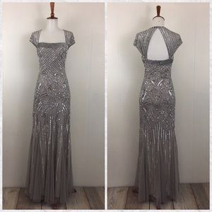 Adrianna Papell Sequin Beaded Cap Sleeve Dress